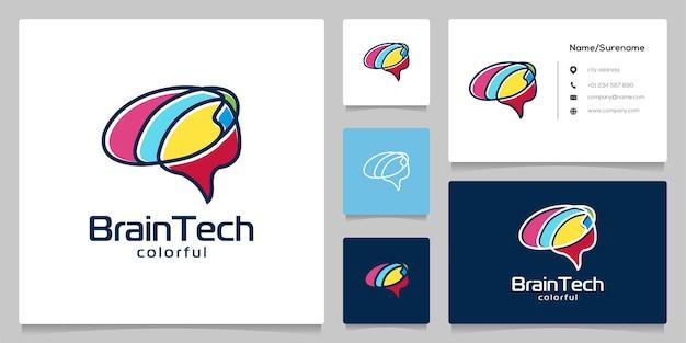 Tecnologia cerebral colorida com design de logotipo em estilo de arte de linha