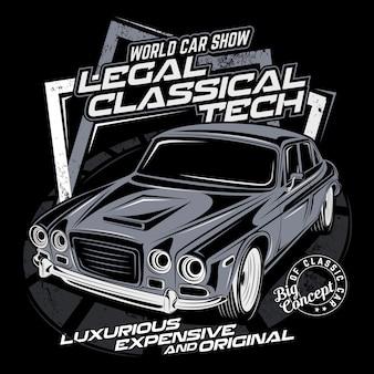Tecnologia clássica legal, ilustração vetorial de carro