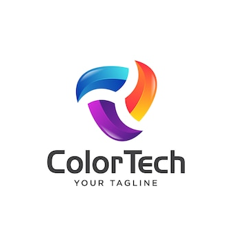 Tecnologia colorida logotipo simples moderno 3d