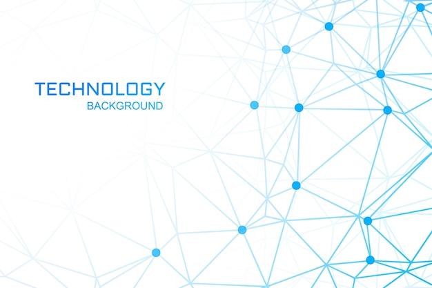 Tecnologia com links poligonais azuis