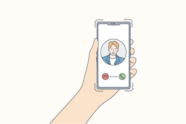 Tecnologia, comunicação, chamada, on-line, conceito de quarentena