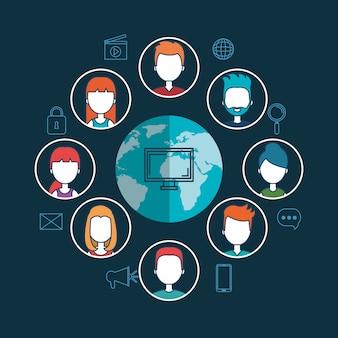 Tecnologia conectada virtual isolado