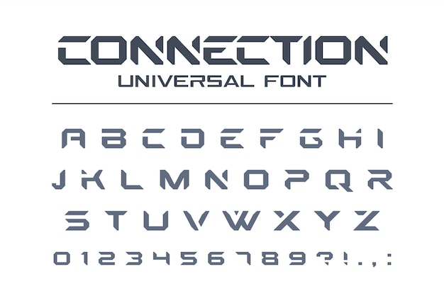 Tecnologia conectar fonte universal. esporte geométrico, agressivo, futurista, futuro alfabeto techno. letras e números para o logotipo da indústria militar, elétrica. tipo de letra minimalista moderno
