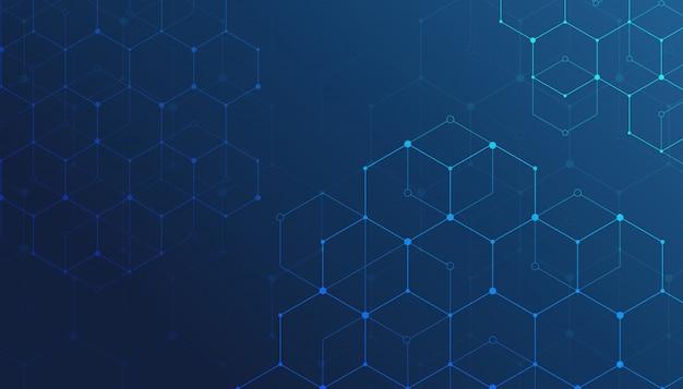 Tecnologia conexão dados digitais azul plano de fundo.