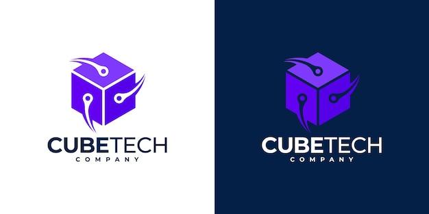 Tecnologia cube tech logo. logotipo da hexagon tech