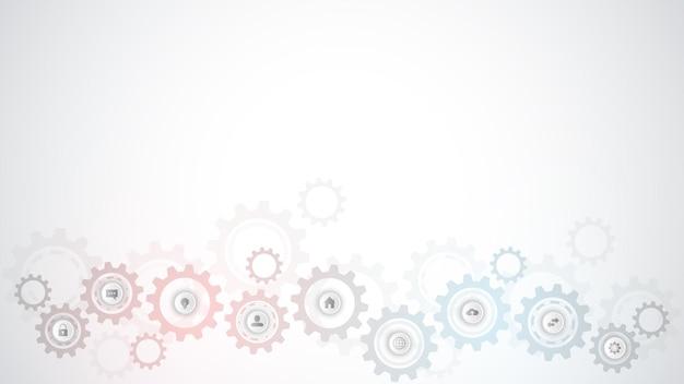 Tecnologia da informação com elementos de infográfico e ícones planos. engrenagens e mecanismos de roda dentada. engenharia e tecnologia digital de alta tecnologia. formação técnica abstrata.