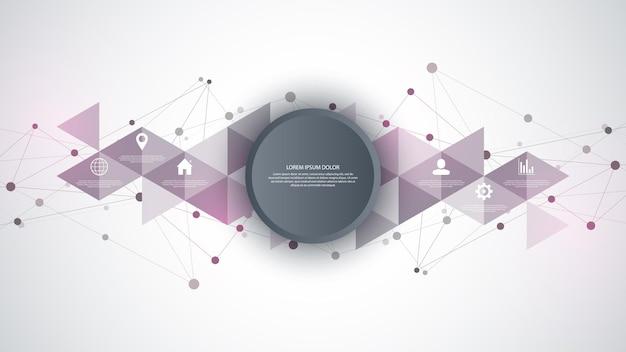 Tecnologia da informação com elementos de infográfico e ícones planos. fundo abstrato com pontos e linhas de conexão. conexão de rede global, tecnologia digital e conceito de comunicação.