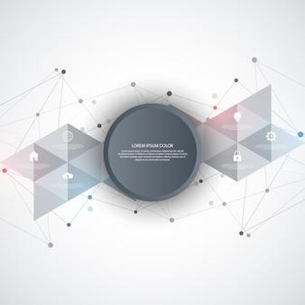 Tecnologia da informação com elementos infográficos e ícones planos