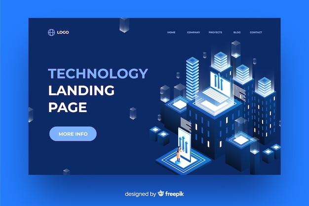 Tecnologia da página de destino isométrica