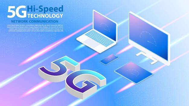 Tecnologia de alta velocidade 5g comunicação em rede internet sem fio