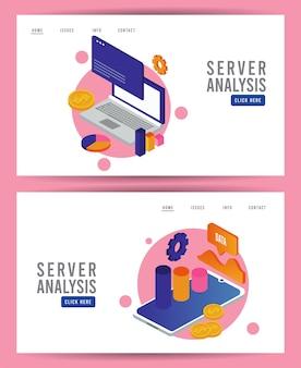 Tecnologia de análise de dados com computadores laptop e tablets.