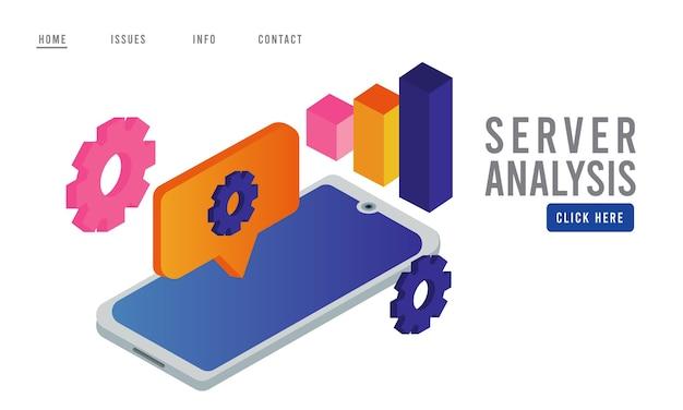 Tecnologia de análise de dados com dispositivo smartphone e infográfico de estatísticas.