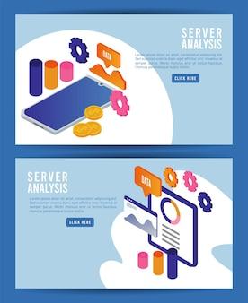 Tecnologia de análise de dados com dispositivos tablet e smartphone.