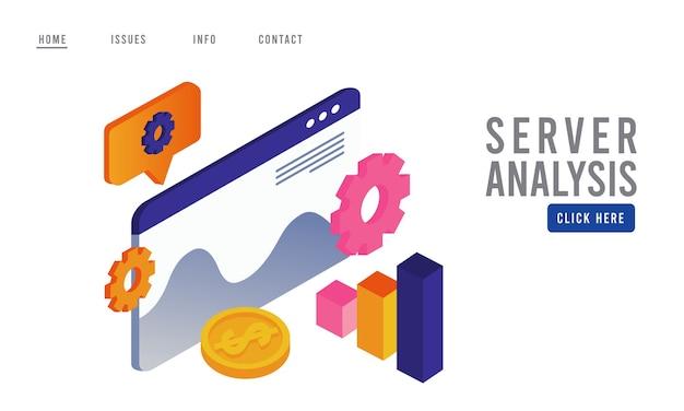 Tecnologia de análise de dados com modelo de página da web e estatísticas.