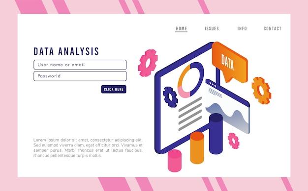 Tecnologia de análise de dados com modelo de página da web e tablet.