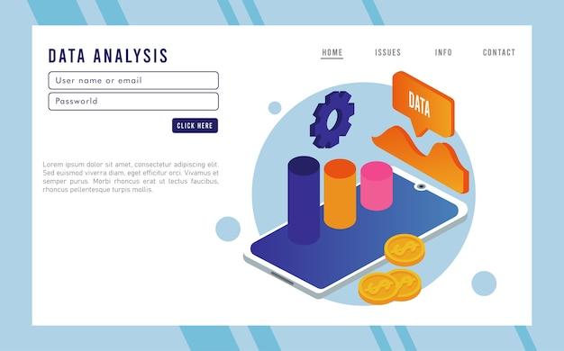 Tecnologia de análise de dados com smartphone e estatísticas.
