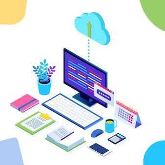 Tecnologia de armazenamento em nuvem. backup de dados. computador isométrico, pc com celular em segundo plano. serviço de hospedagem para site.