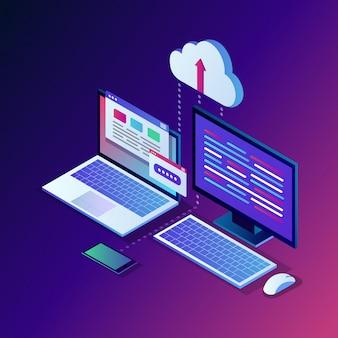 Tecnologia de armazenamento em nuvem. backup de dados. laptop isométrico 3d, computador,