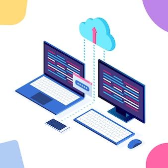 Tecnologia de armazenamento em nuvem. backup de dados. laptop isométrico, computador, pc com celular em segundo plano. serviço de hospedagem para site.