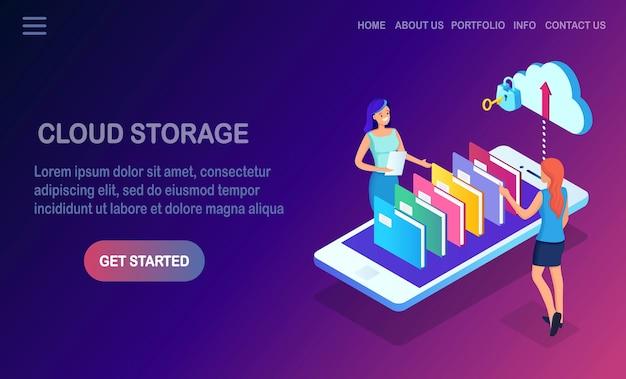 Tecnologia de armazenamento em nuvem. backup de dados.