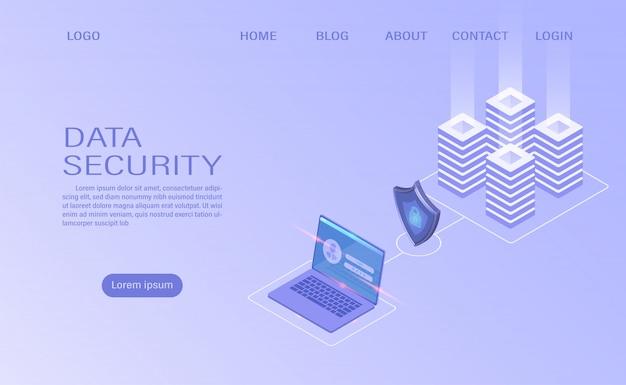 Tecnologia de armazenamento em nuvem da sala do servidor do datacenter e processamento de big data protegendo o conceito de segurança de dados. informação digital. isométrico