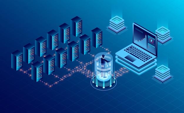 Tecnologia de armazenamento em nuvem de sala de servidor de datacenter e processamento de dados grande