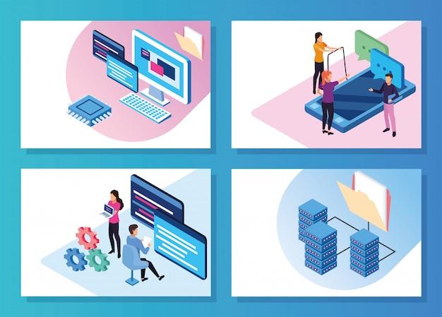 Tecnologia de big data com pessoas e dispositivos vector design ilustração