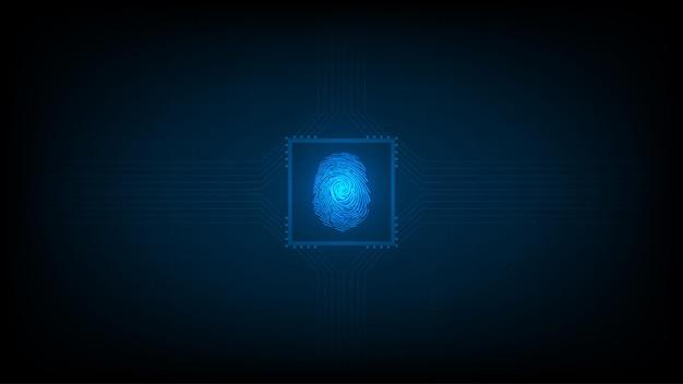 Tecnologia de biometria de alta tecnologia com fundo de digitalização de impressão digital. conceito de segurança empresarial. ilustração vetorial.