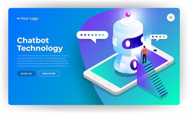 Tecnologia de bot de bate-papo de conceito isométrico. mensagem de bate-papo de máquina de inteligência artificial por aprendizado de máquina. ilustrar.