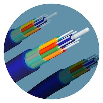 Tecnologia de cabo de fibra óptica definida em círculo. itens importantes em telecomunicações usados para ajudar a transmitir sinais. objetos óticos isolados