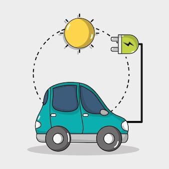 Tecnologia de carro elétrico com conexão de energia solar