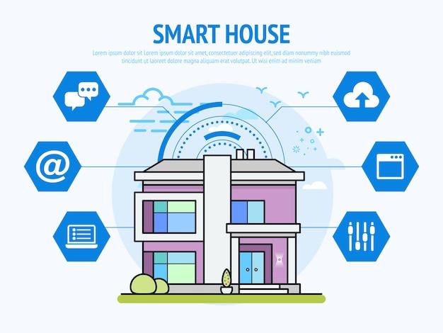 Tecnologia de casa inteligente do conceito de automação residencial.