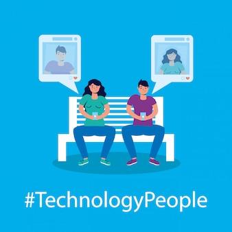 Tecnologia de casal com caracteres de smartphone