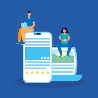 Tecnologia de casal com laptop e smartphone