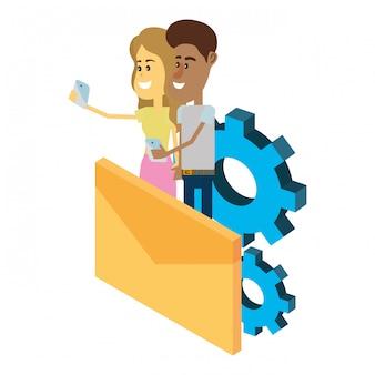 Tecnologia de casal e e-mail isométrica