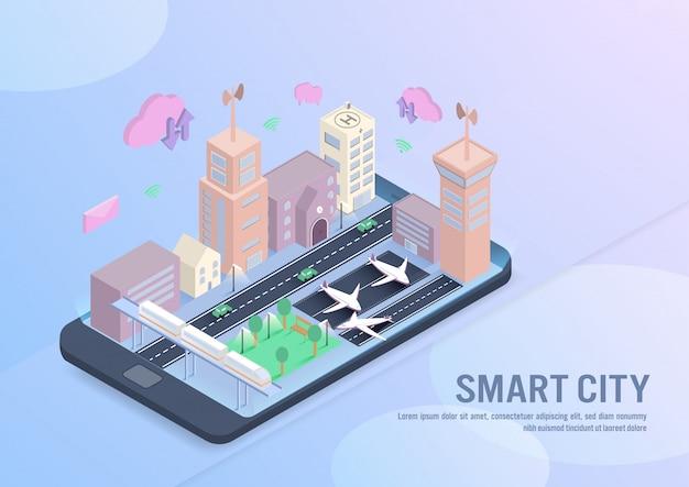 Tecnologia de cidade inteligente em vetor isométrico