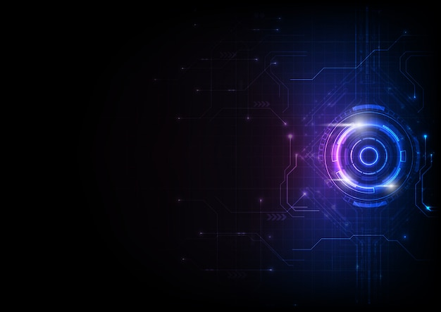 Tecnologia de circuito de jogo futurista roxo azul
