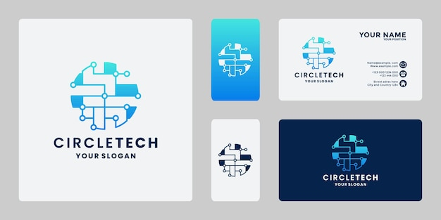 Tecnologia de círculo criativo, design de logotipo de tecnologia mundial com gradiente de cor e cartão de visita