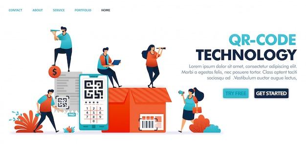 Tecnologia de código qr e código de barras para comércio eletrônico, compras, fintech, pagamento financeiro e bancário,