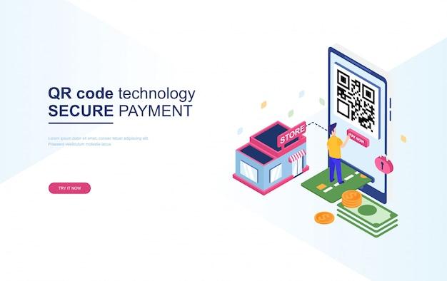 Tecnologia de código qr, pagamento seguro isométrico