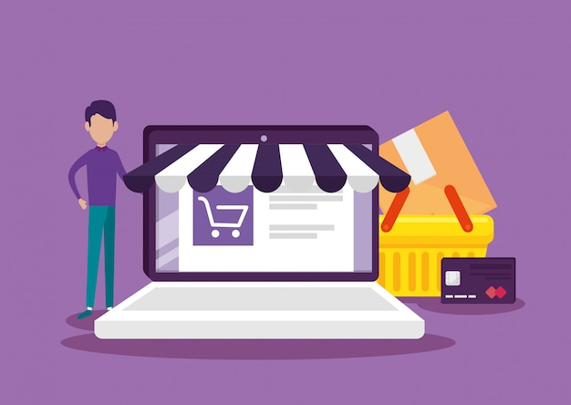 Tecnologia de comércio eletrônico para laptop com site e cesta