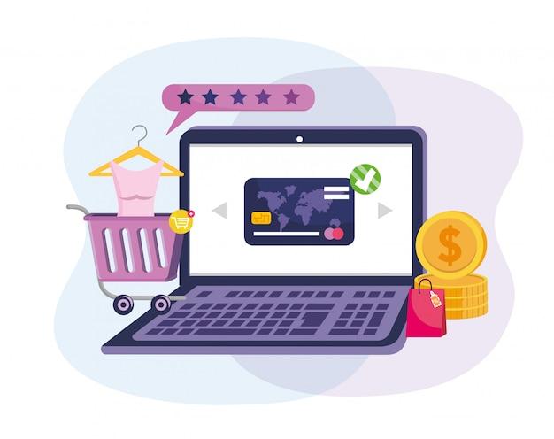 Tecnologia de comércio eletrônico portátil com cartão de crédito e compra on-line