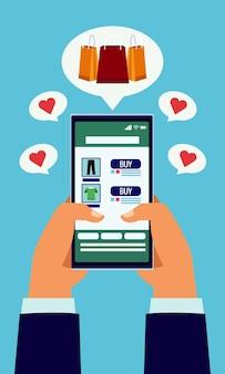 Tecnologia de compras online com as mãos usando smartphone e ilustração de bolsas