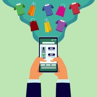 Tecnologia de compras online com as mãos usando smartphone e ilustração de camisas