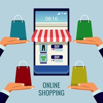Tecnologia de compras online com fachada de loja em ilustração de smartphone