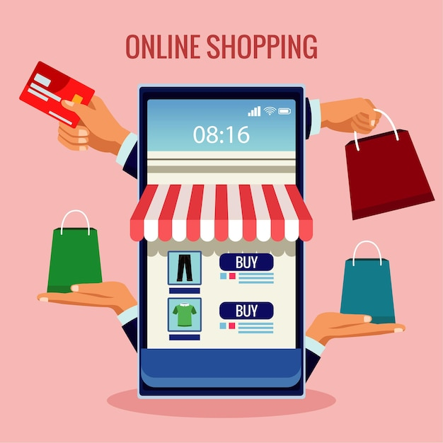 Tecnologia de compras online com fachada de loja em smartphone e ilustração de bolsas