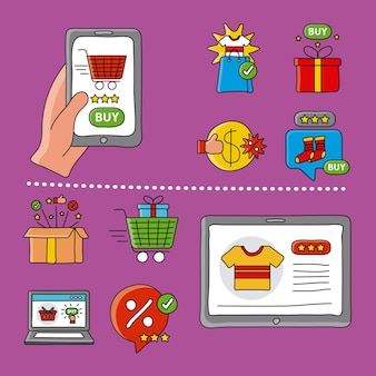 Tecnologia de compras online com ilustração de ícones de conjunto de smartphone e tablet