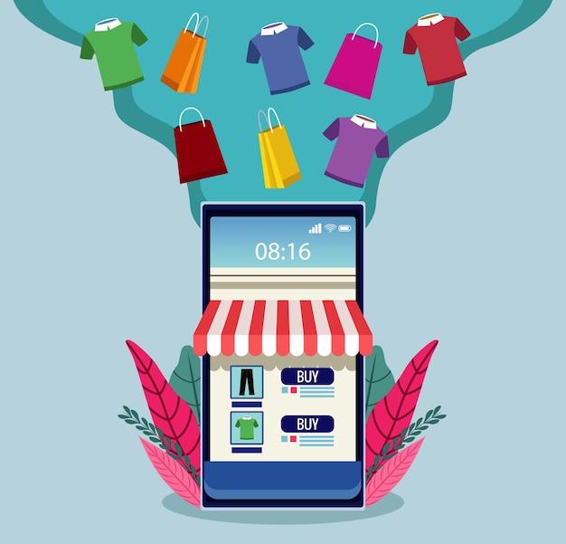 Tecnologia de compras online com ilustração de smartphone e camisetas