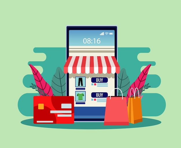 Tecnologia de compras online com ilustração de smartphone e cartão de crédito