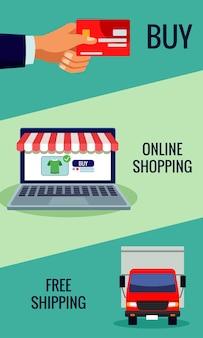 Tecnologia de compras online em laptop com ilustração de cartão de crédito e caminhão